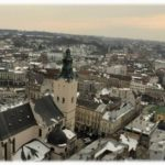 The bird's eye views of Lviv city