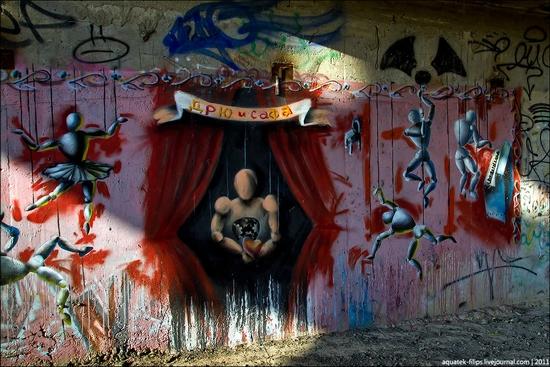Graffiti-covered abandoned museum of Sevastopol view 12