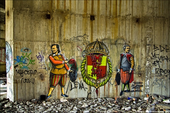 Graffiti-covered abandoned museum of Sevastopol view 3