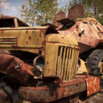 The scrap yard of Chernobyl radioactive machinery