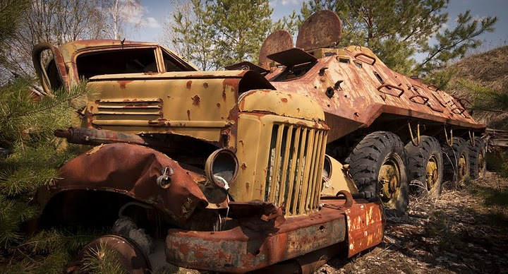 Chernobyl radioactive machinery scrap yard 1