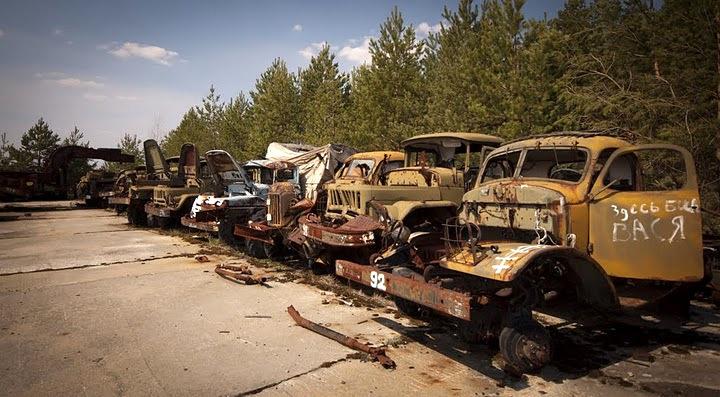 Chernobyl radioactive machinery scrap yard 11