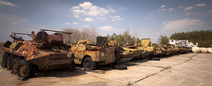 Chernobyl radioactive machinery scrap yard 12