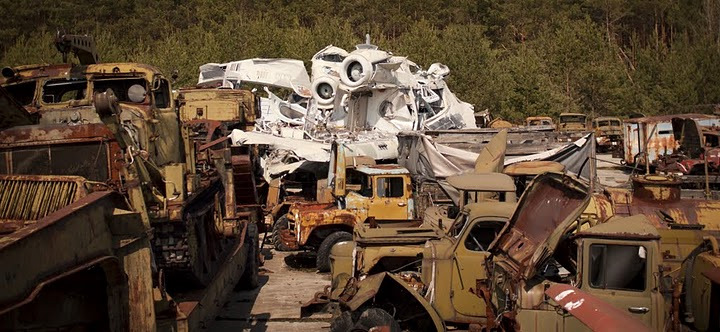 Chernobyl radioactive machinery scrap yard 13