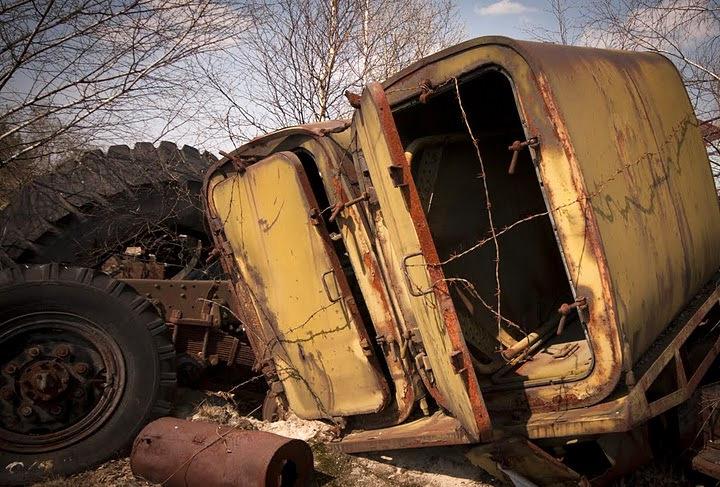 Chernobyl radioactive machinery scrap yard 16