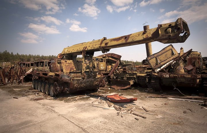 Chernobyl radioactive machinery scrap yard 3