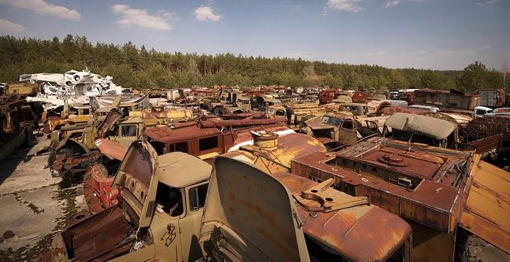Chernobyl radioactive machinery scrap yard 4