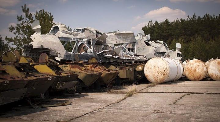 Chernobyl radioactive machinery scrap yard 5