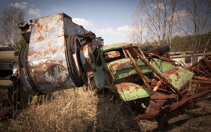 Chernobyl radioactive machinery scrap yard 9