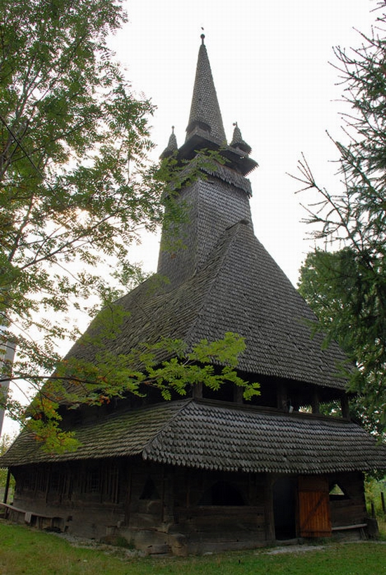 Wooden Gothic church, Zakarpattia region, Ukraine view 11