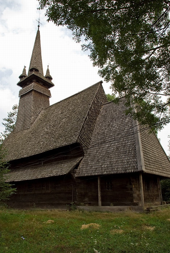 Wooden Gothic church, Zakarpattia region, Ukraine view 12