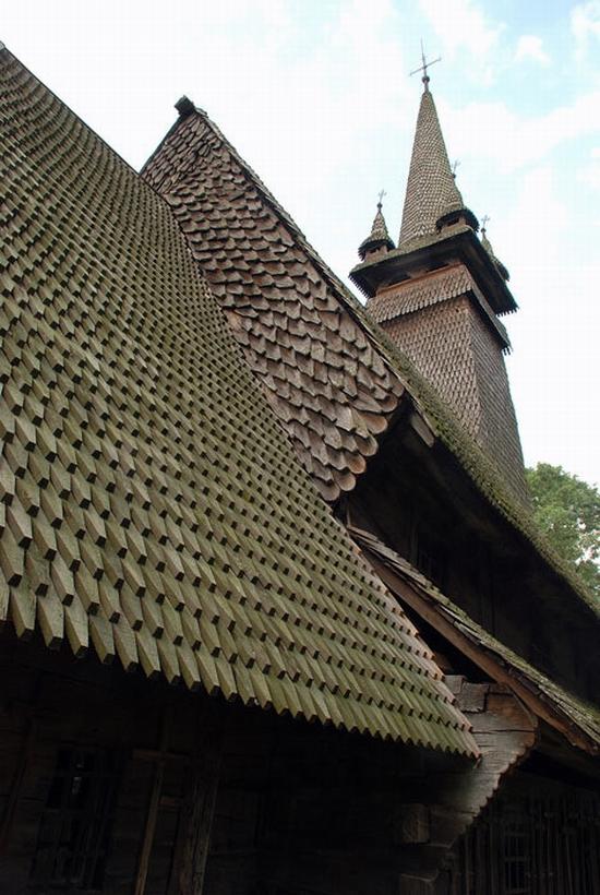 Wooden Gothic church, Zakarpattia region, Ukraine view 13