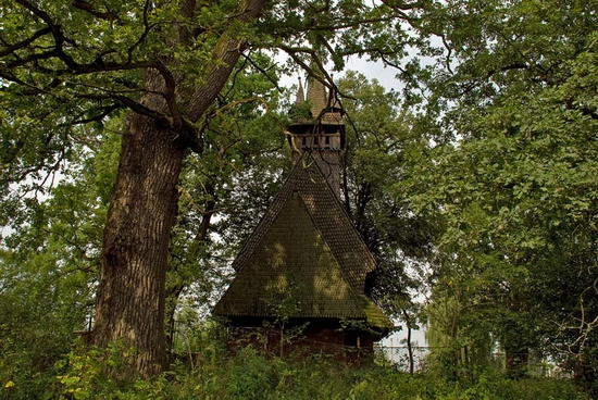 Wooden Gothic church, Zakarpattia region, Ukraine view 3