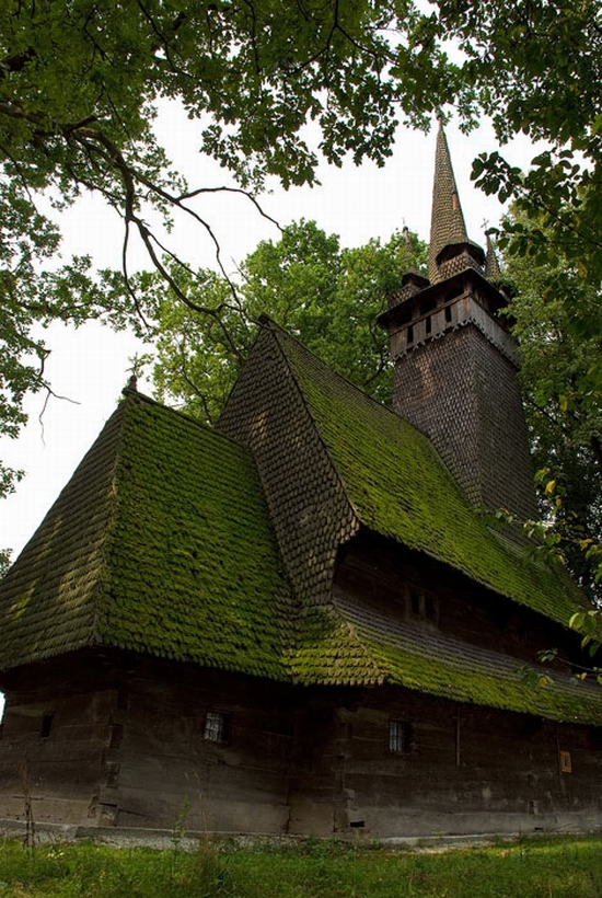 Wooden Gothic church, Zakarpattia region, Ukraine view 4