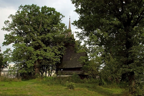 Wooden Gothic church, Zakarpattia region, Ukraine view 6