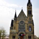 Asymmetric Catholic Church – main sight of Fastiv city