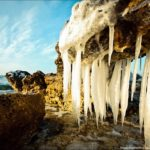 Frozen beach resembling the lair of scary aliens