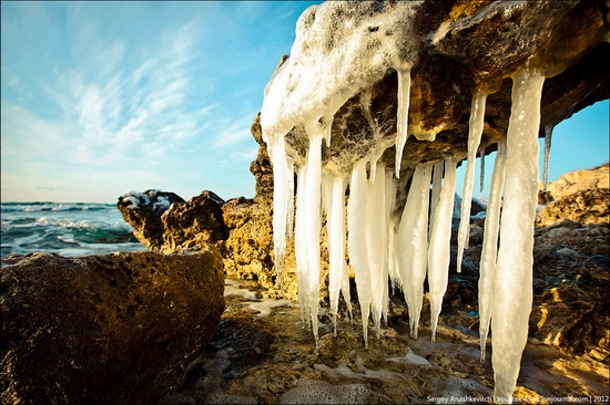 Frozen beach - the lair of aliens, Sevastopol, Ukraine view 1