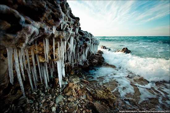 Frozen beach - the lair of aliens, Sevastopol, Ukraine view 11