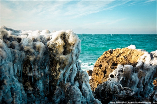 Frozen beach - the lair of aliens, Sevastopol, Ukraine view 2