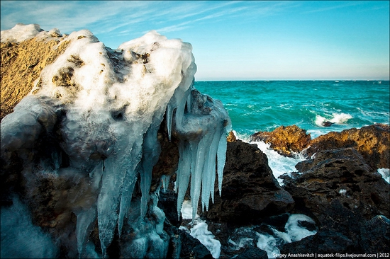 Frozen beach - the lair of aliens, Sevastopol, Ukraine view 3