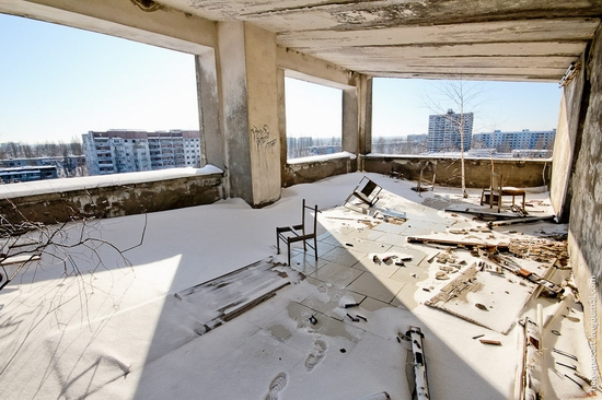 Snow-covered Pripyat, Ukraine view 13