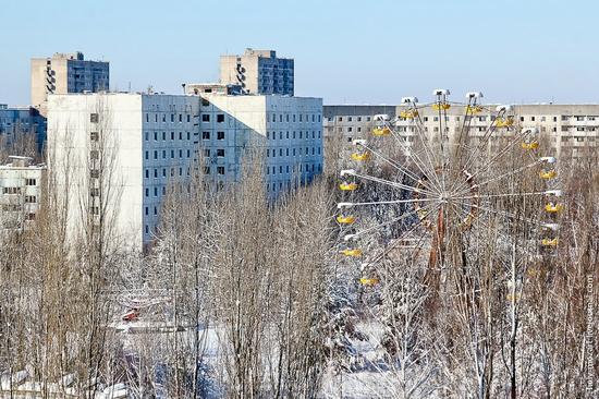 Snow-covered Pripyat, Ukraine view 14