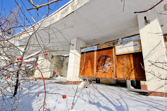 Snow-covered Pripyat, Ukraine view 16