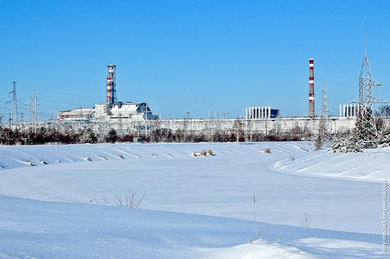 Snow-covered Pripyat, Ukraine view 19