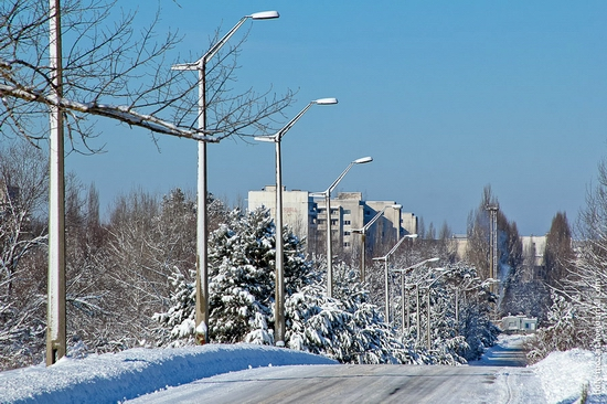 Snow-covered Pripyat, Ukraine view 2