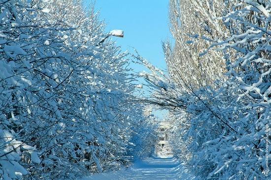 Snow-covered Pripyat, Ukraine view 3