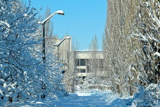 Snow-covered Pripyat, Ukraine view 4