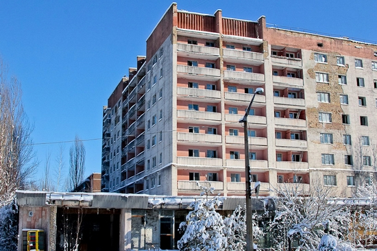 Snow-covered Pripyat, Ukraine view 5