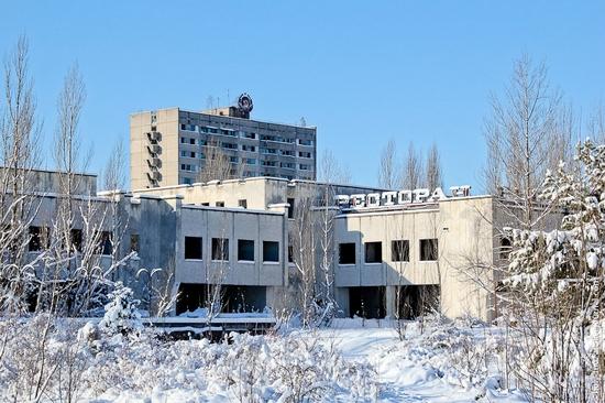 Snow-covered Pripyat, Ukraine view 6