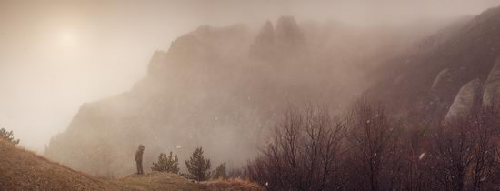 Mysteries of foggy and frozen Crimea, Ukraine view 12