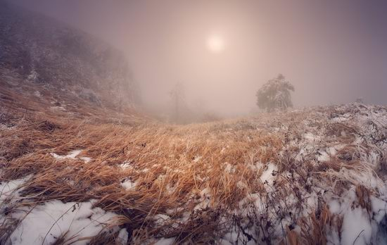 Mysteries of foggy and frozen Crimea, Ukraine view 3