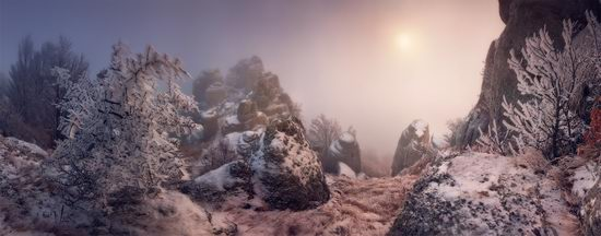 Mysteries of foggy and frozen Crimea, Ukraine view 5
