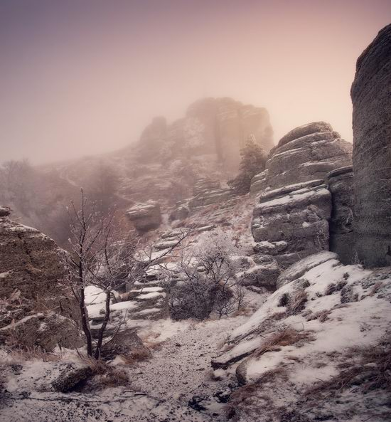 Mysteries of foggy and frozen Crimea, Ukraine view 6