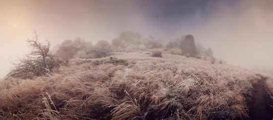 Mysteries of foggy and frozen Crimea, Ukraine view 8