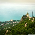 The church soaring in the clouds in Crimea