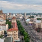 Air balloon flight over Kiev