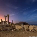 The remains of ancient city-state Chersonese at night time
