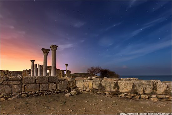 The remains of ancient city-state Chersonese at night time photo 1