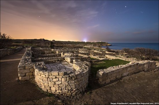 The remains of ancient city-state Chersonese at night time photo 5