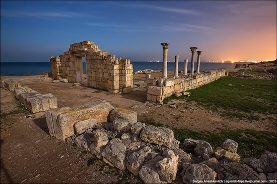 The remains of ancient city-state Chersonese at night time photo 8
