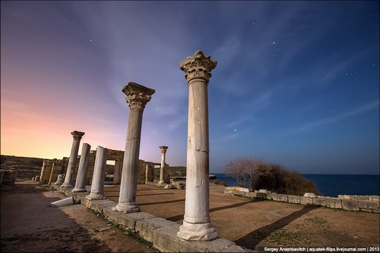 The remains of ancient city-state Chersonese at night time photo 9