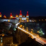 The old fortress of Kamenets Podolskiy at night