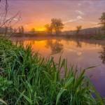 Early dawn on the river Ternovaya in Kharkiv region