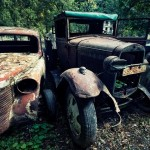 Picturesque abandoned vintage cars