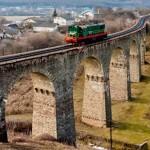 Nine-arch railroad bridge in the Ukrainian province